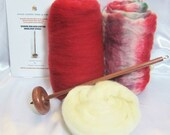 Drop Spindle Yarn Spinning Kit Apples N Plums Available in Either Top or Bottom Whorl Free Shipping
