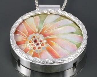 Cloisonné Enamel Pendant. Pink Flower. Sterling Silver Necklace. One of a Kind. Art Nouveau. Vitreous Enamel. Round Pendant. f16p011