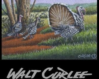 Artist Trading Card, Original ACEO, Wild Turkeys Country Landscape Oil Painting, Barn, Folk Art Americana, Appalachian