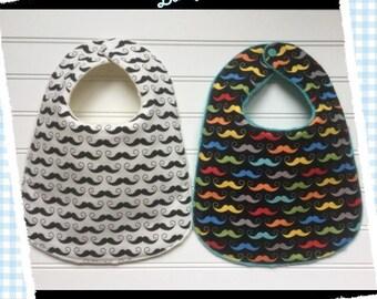 Set of 2 Mustache baby bibs
