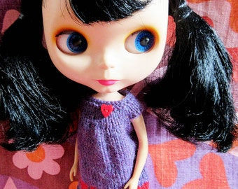 Odds & Ends SALE - Blythe:  Purple smock dress with red hearts