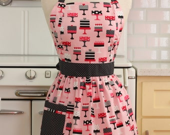 Apron Retro Style Pink Cakes CHLOE Full Apron