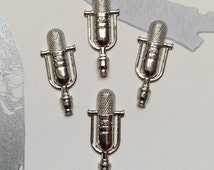 4 Silver Plated Microphone charms / stampings 35x14mm old fashioned / retro Radio style (C34)