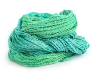 Chunky baby alpaca yarn, hand dyed bulky knitting crochet wool, Perran Yarns Woodland Glade, emerald green blue, uk seller, yarn skein hank