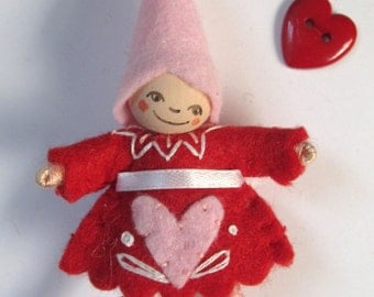 Be Mine Art Doll Pin in Red