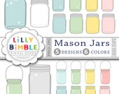 80% off Mason Jars Clipart Spring Summer clip art for wedding invites, birthdays, cards, scrapbooking Instant Download