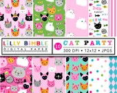 60% off CAT PARTY digital scrapbook paper, cats, birthday, persian, siamese, tabby, scottish fold, fun, pack, kawaii Instant Download