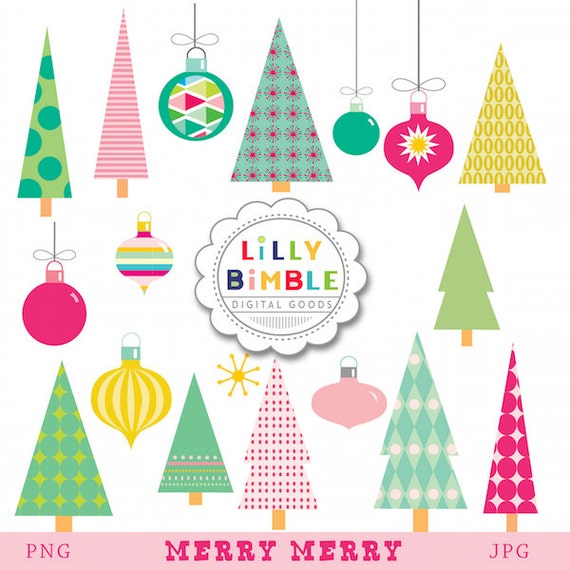 Modern Christmas Tree Clipart Ornaments For Commercial Use