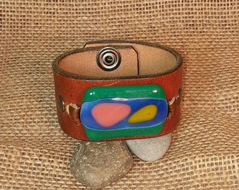 Distressed Brown Leather Wrist Belt with Fused Glass Focal - Upcycled - Medium