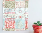 Bohemian Pillow Sham Cover~ Home & Living~ Bedding ~ Large Vintage Pillowcase~ Boho Pillow~ Corals and Turquoise and Blue~ Vintage Decor