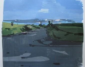 Evening Return, Original Summer Collage Painting on Paper, Stooshinoff