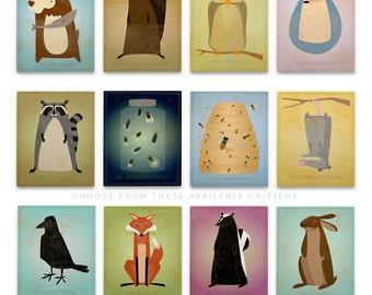 Wall Art Nursery Art Boy- Woodland Nursery Art Block- Pick the Nursery Print- Prints Nursery- Cute Animal Nursery Art for- Kids Room Decor