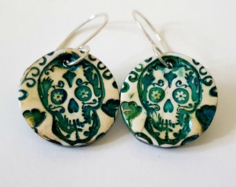 Teal Green Sugar Skull Earrings Sterling Silver