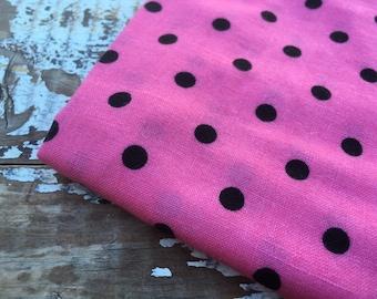 Polka Dot Fabric-Cotton Blend-Pink and Black Dot-Vintage Cotton