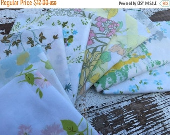 30% OFF SUPER SALE- Reclaimed Bed Linens Fat Quarter Bundle-Flower Power