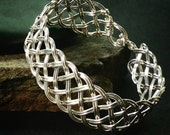 Sterling Bracelet Cuff, Woven Sterling Cuff Bracelet, Statement Bracelet, Latching Cuff, Statement Cuff, Made to Order