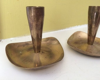 Mid Century Short Brass Candle Holders / Pair