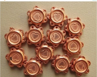 ON SALE Vintage copper heart flower charms