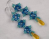 Sweet Hand Beaded Capri Blue with Topaz Drops - Earrings
