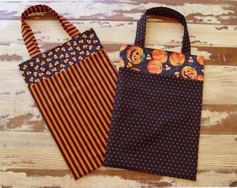 Halloween bag, Trick or Treat bag, fabric gift bag, pumpkins, corn candy, orange and black
