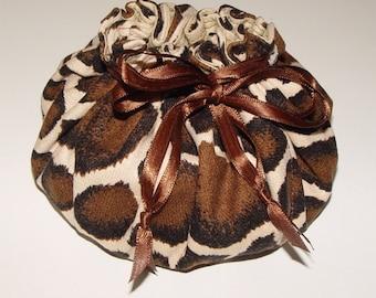 Jewelry Pouch Travel Tote Giraffe Print Fabric Drawstring Bag