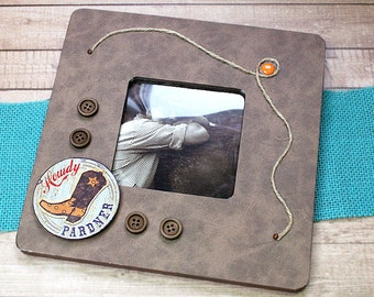 "Howdy Pardner Picture Frame, Cowboy, Rodeo, Rancher, Old West, Roundup, Masculine - 8"" x 8"" Decoupaged Wood Frame for 3.5"" x 3.5"" Photo"