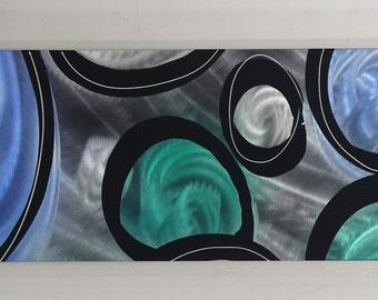 Modern Contemporary Blue & Green One of a Kind Metal Wall Art Panel - Handmade Abstract Home Decor by Jon Allen - P-570