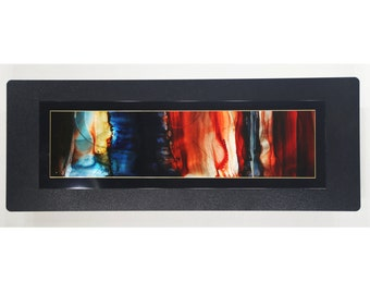Handmade Red-Orange, Blue & Black Painting - Abstract Metal Wall Accent Art - One of a Kind Modern Home Decor - JC 503I by Jon Allen
