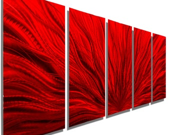 NEW! Large Contemporary Wall Sculpture in Red, Modern Multi Panel Metal Wall Art, Decorative Metal Wall Sculpture - Red Plumage by Jon allen