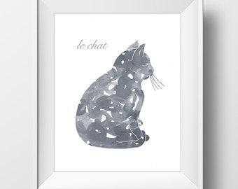 Printable Digital Cat Art Gray Grey Silhouette Gato Chat Print Digital Download