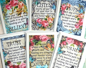 MOSAIC JOURNEY CARD SeT of SiX collage art therapy inspirational hope recovery healing survivor