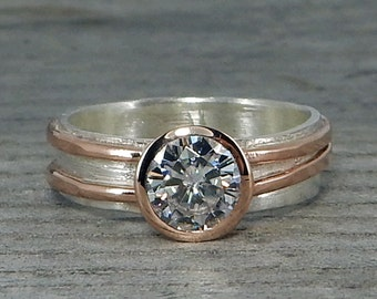 Moissanite Engagement Ring with Recycled 14k Rose Gold and Recycled Sterling Silver - 6mm Forever One DEF, Conflict-Free, Ethical Jewelry