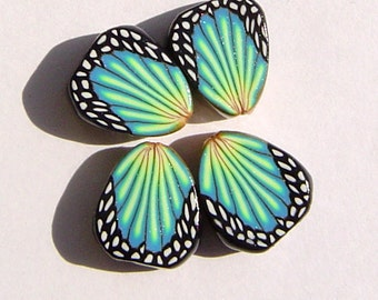 Turquoise Blue Green Butterfly Wing Handmade Artisan Polymer Clay Beads