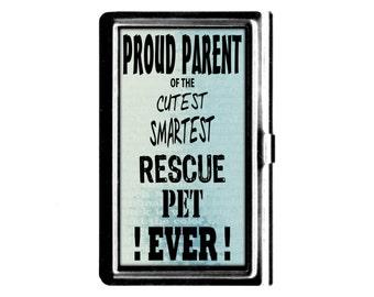 Pet lover Business credit Card holder Case Proud Parent Cutiest Smartest Rescue Pet Ever stainless steel card case cat dog lover gift blue