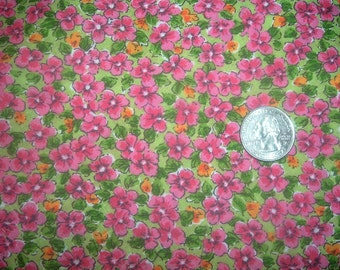 Quilt Fabric Destash Pink Flowers on Green Cranston   35 inches