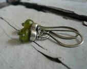 Dandy Earrings in Moss-  Vesuvianite. Oxidized Sterling silver. Dangle earrings.Handmade