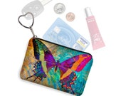Small Zipper Pouch Coin Purse Keychain Key Fob Boho Butterfly Business Card Holder Purse Organizer Colorful purple blue fabric RTS