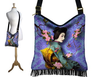 Geisha Cross Body Hobo Bag, Bohemian Gypsy Bag,  Hippie Bag,  Fringe Handbag,  Asian Art Boho Bag, damask bird purple blue pink teal RTS