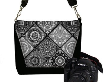 Camera Case DSLR Camera Bag for Women,  Bohemian Bag, Black Crossbody Bag,  Messenger Bag Purse, Satchel Saddle Bag,  white gray grey RTS