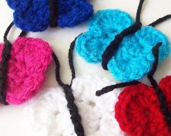 Crochet Butterfly Appliques, Crochet Butterfly Embellishment, Crochet Butterfly Motif, Scrapbooking, Turquoise Red White Blue Pink Butterfly