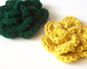 Layered Flower Crochet Applique, Hunter Green and Mustard Yellow Crochet Flower Embellishment, Three Layered Flower, Crochet Flower Motif