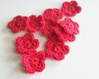 Mini Crochet Flower Appliques, Red Crochet Flower Embellishment, Scrapbooking, Miniature Crochet Flower, Set of 10, Crochet Flower Motif