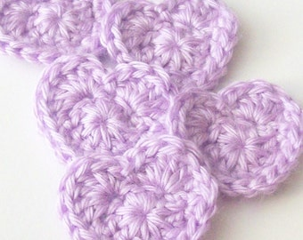 Crochet Heart Appliques, Purple Crochet Heart, Crochet Heart Embellishment, Set of 5, Crochet Heart Motif