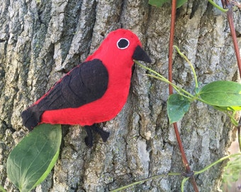Scarlet tanager bird felt embroidered ornament / home decor