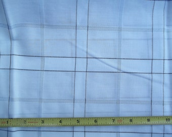 Vintage White and Navy Windowpane Plaid Pattern Fabric 45 inches wide 1 yd. 29 inches.