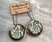 Leather & Antique Brass Earrings Ferns Digital Photo Print on 100% Genuine Leather