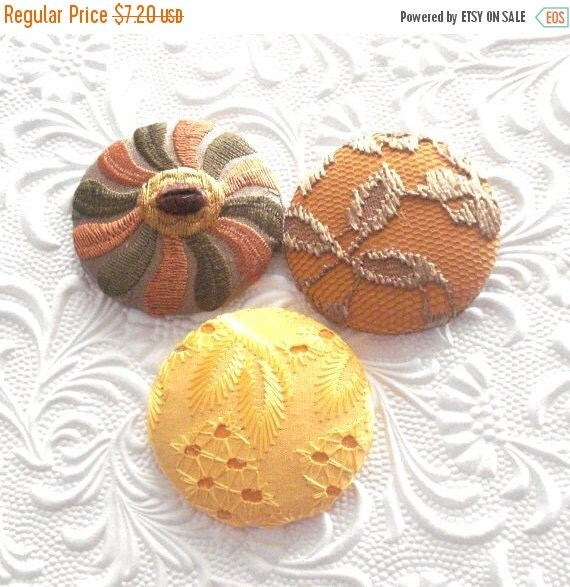 CLEARANCE Gold buttons, yellow buttons, fabric covered buttons , lace buttons, eyelet button,  embroidered buttons, size 75 buttons