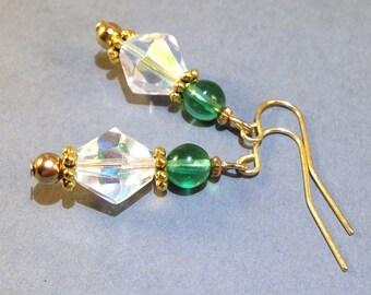 Green Glass Earrings - Iridescent Earrings - Beaded Jewelry - Boho Jewelry - Gold Earrings - Gift For Her - Pierced Earrings - Sale Earrings
