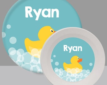 Child's Plate - Rubber Ducky Plate - Rubber Duck Melamine Bowl or Plate Custom Personalized with Childs Name