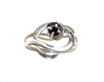 Black Diamond Ring Sterling Silver Engagement ring